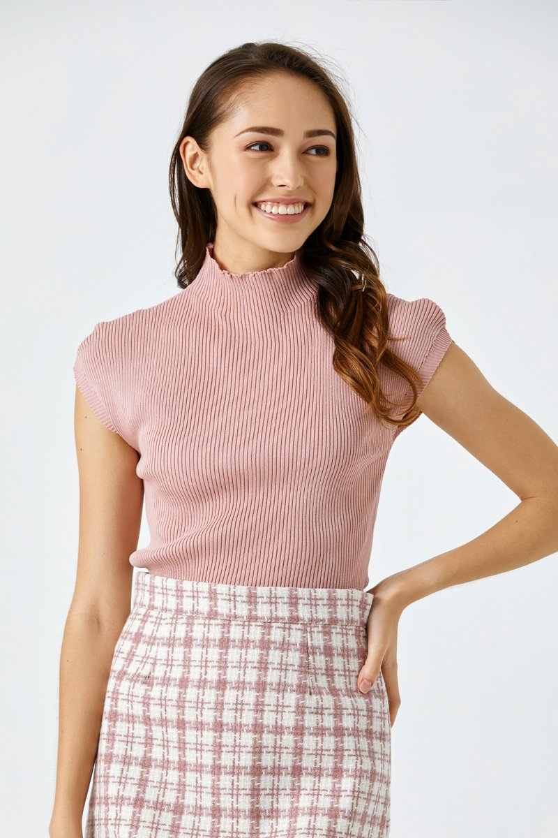 Gillian Cap Sleeve Knit Top Blush