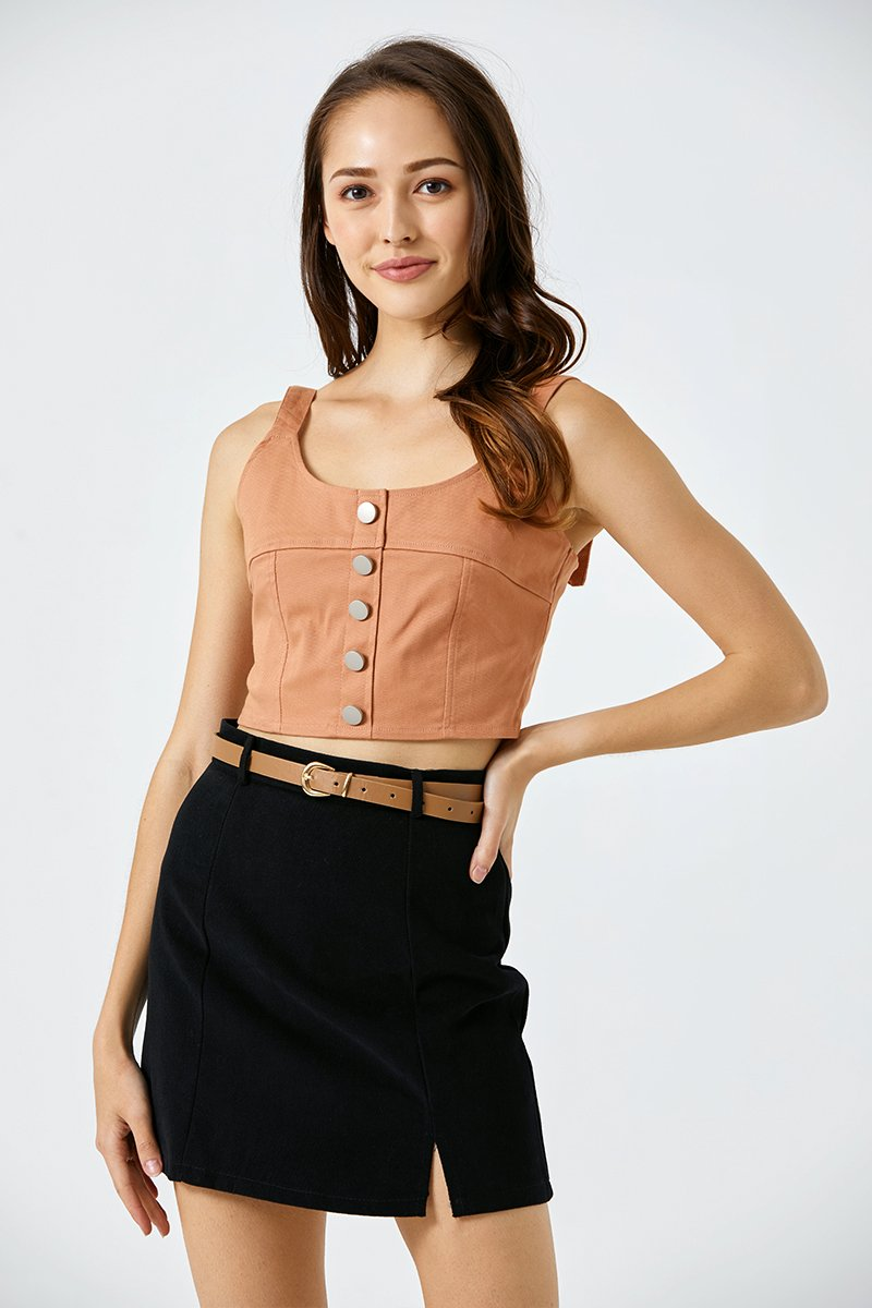 Germaine Denim Bustier Top Cantaloupe