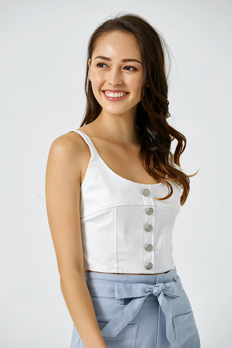 Germaine Denim Bustier Top Ivory