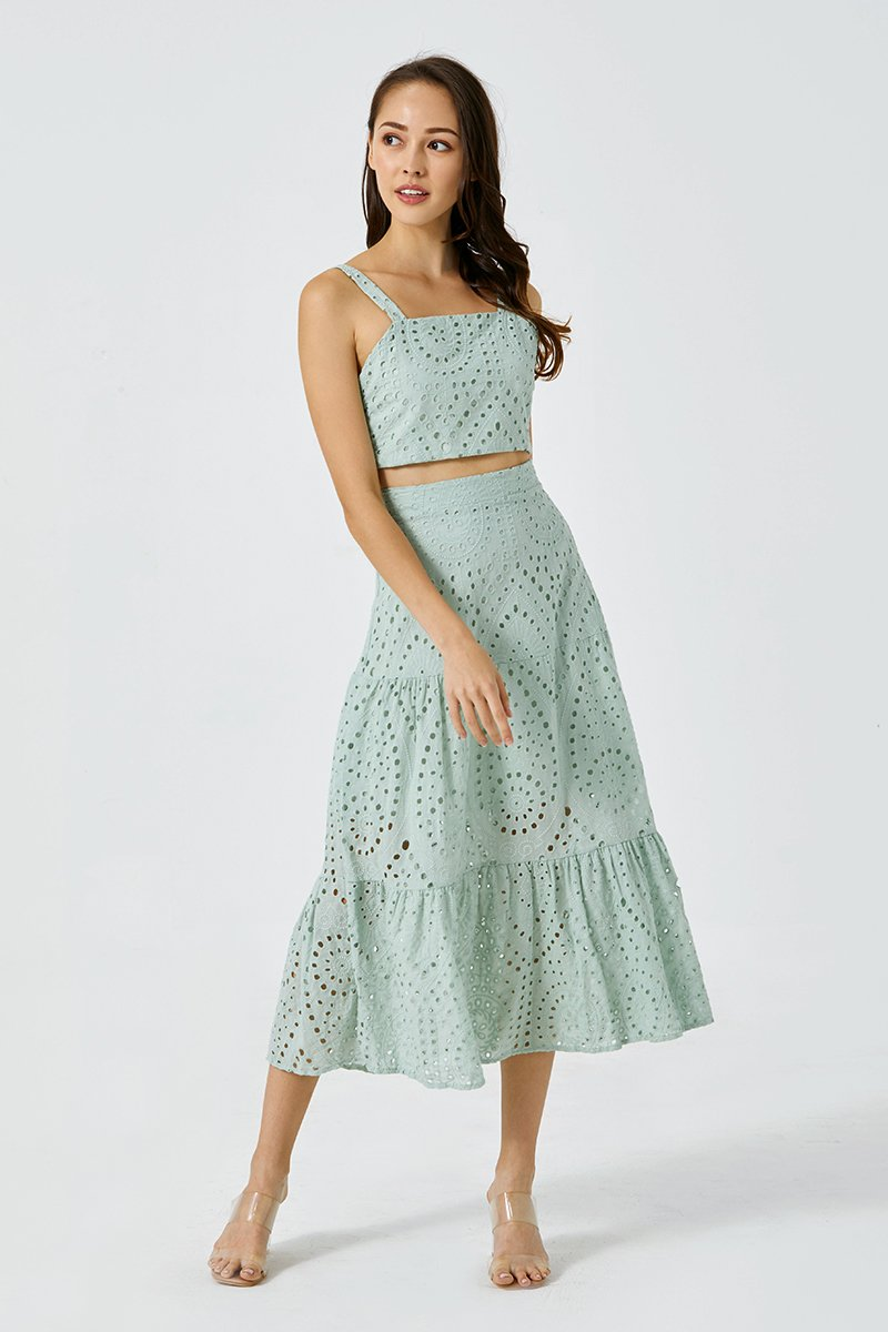 Claudia Eyelet Dress Set Mint