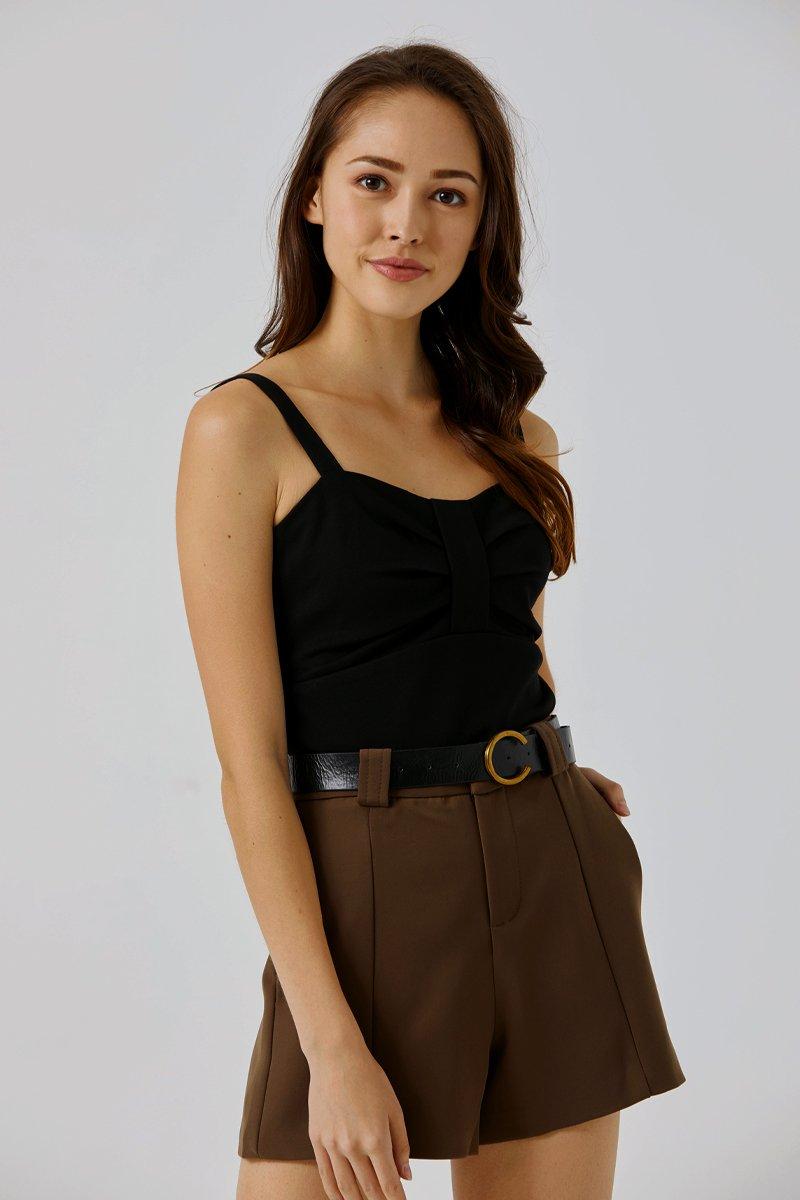 Natalia Gathered Crop Top Black