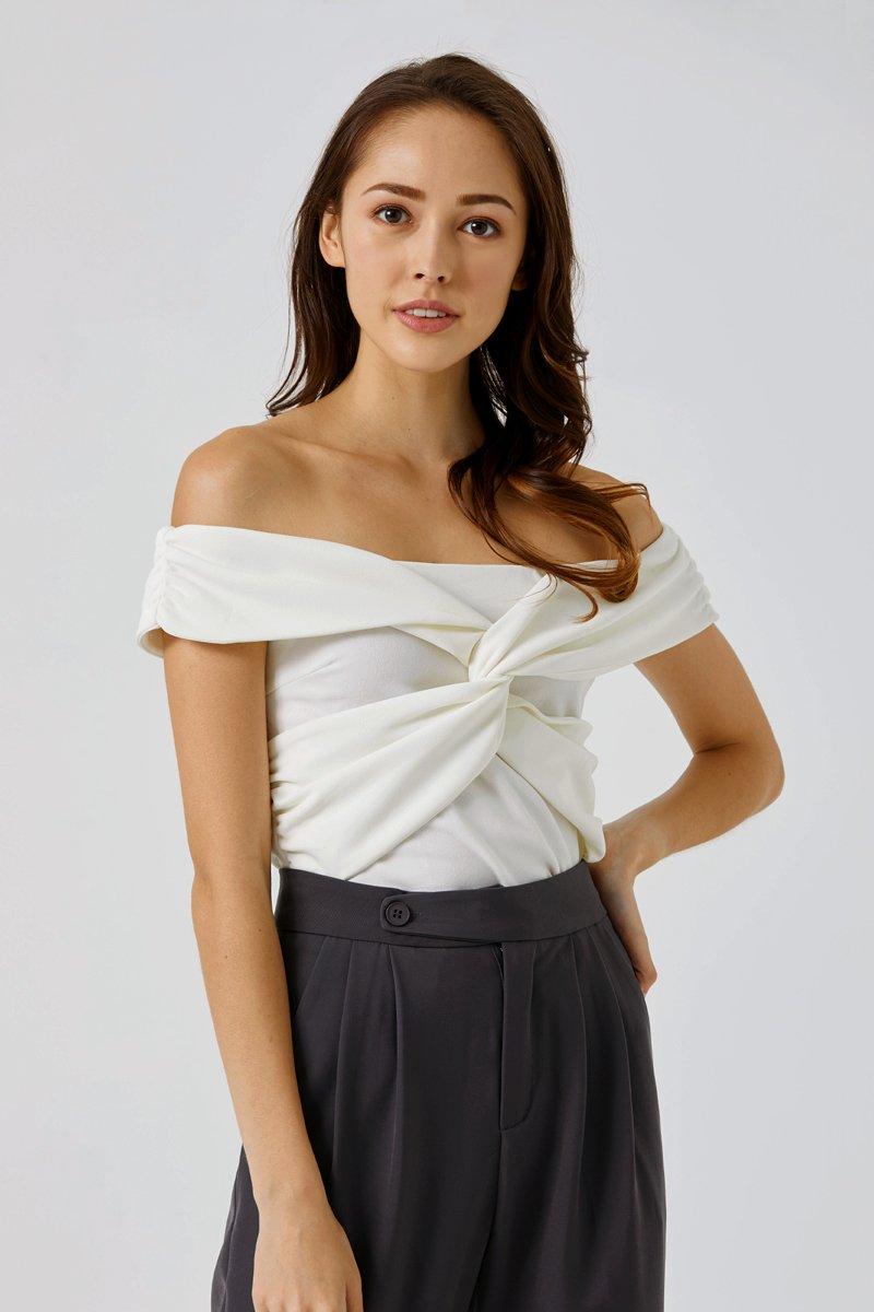 Ariel Off-shoulder Crop Top Ivory