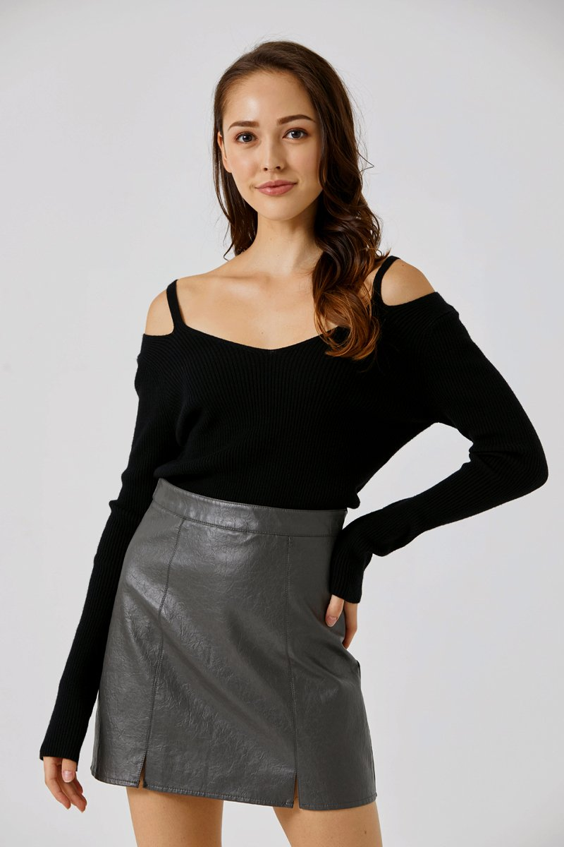 Eileen Cold Shoulder Knit Top Black