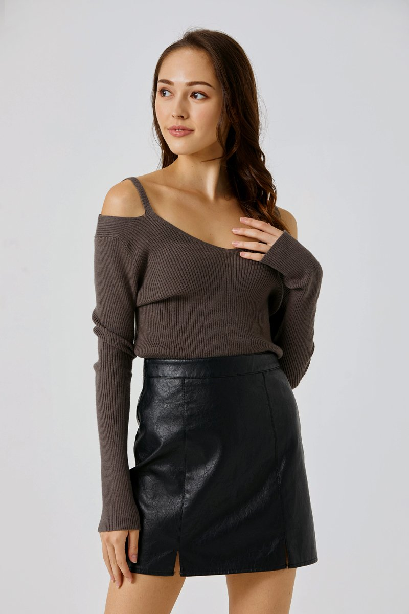 Eileen Cold Shoulder Knit Top Grey