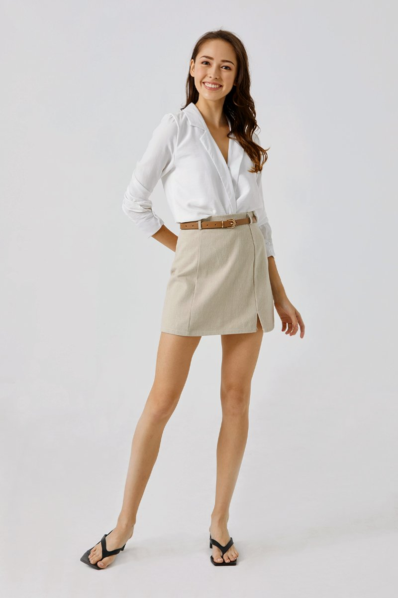 Irelia Belted A-Line Skirt Sand
