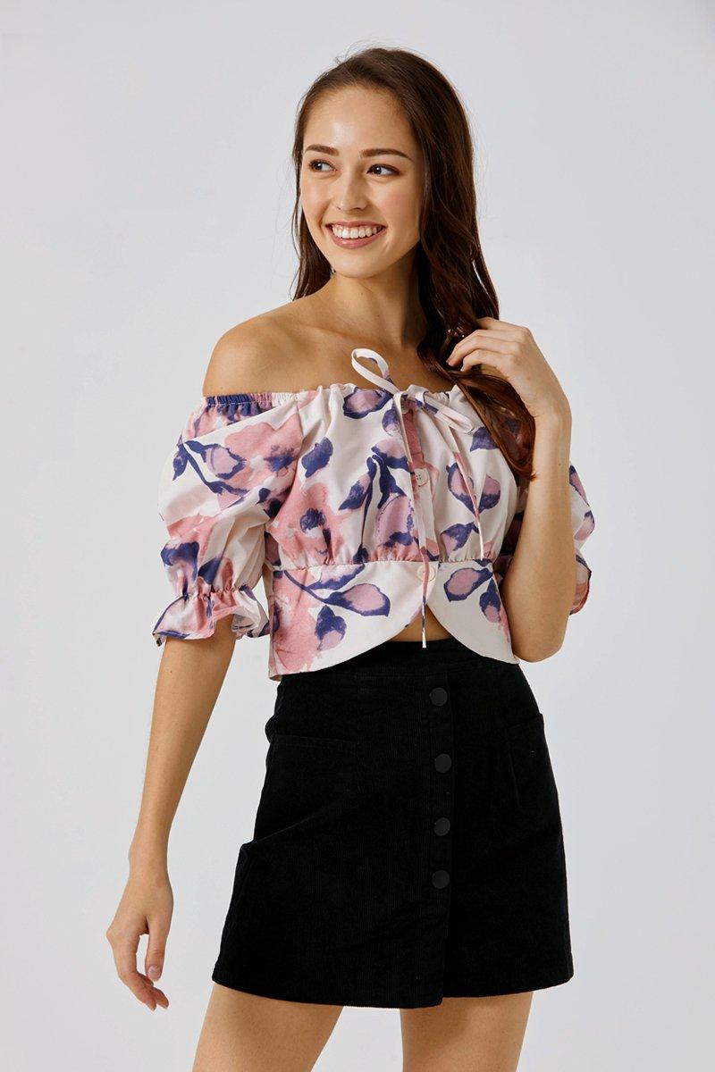 Stasia Puffed Sleeve Top Blush