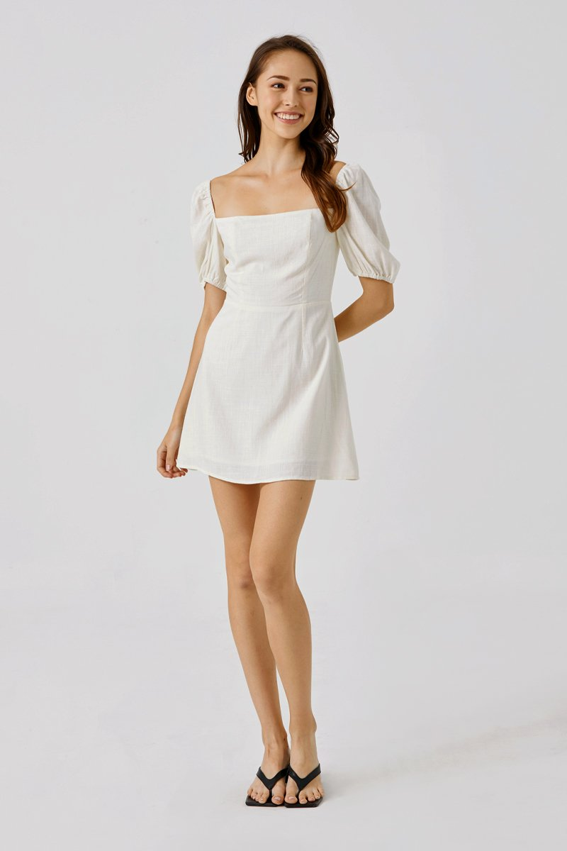 Shelia Puffed Sleeve Dress Ivory