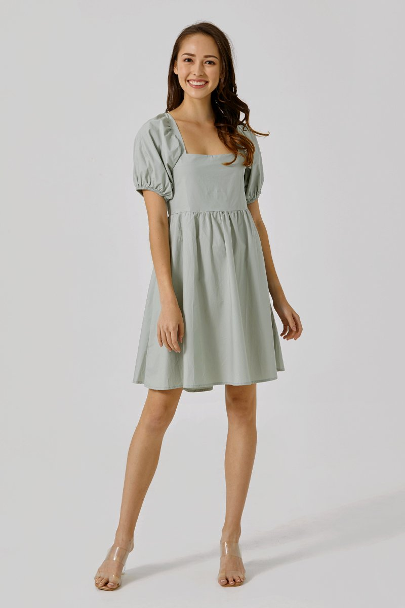 Shelly Puff Sleeve Dress Sage