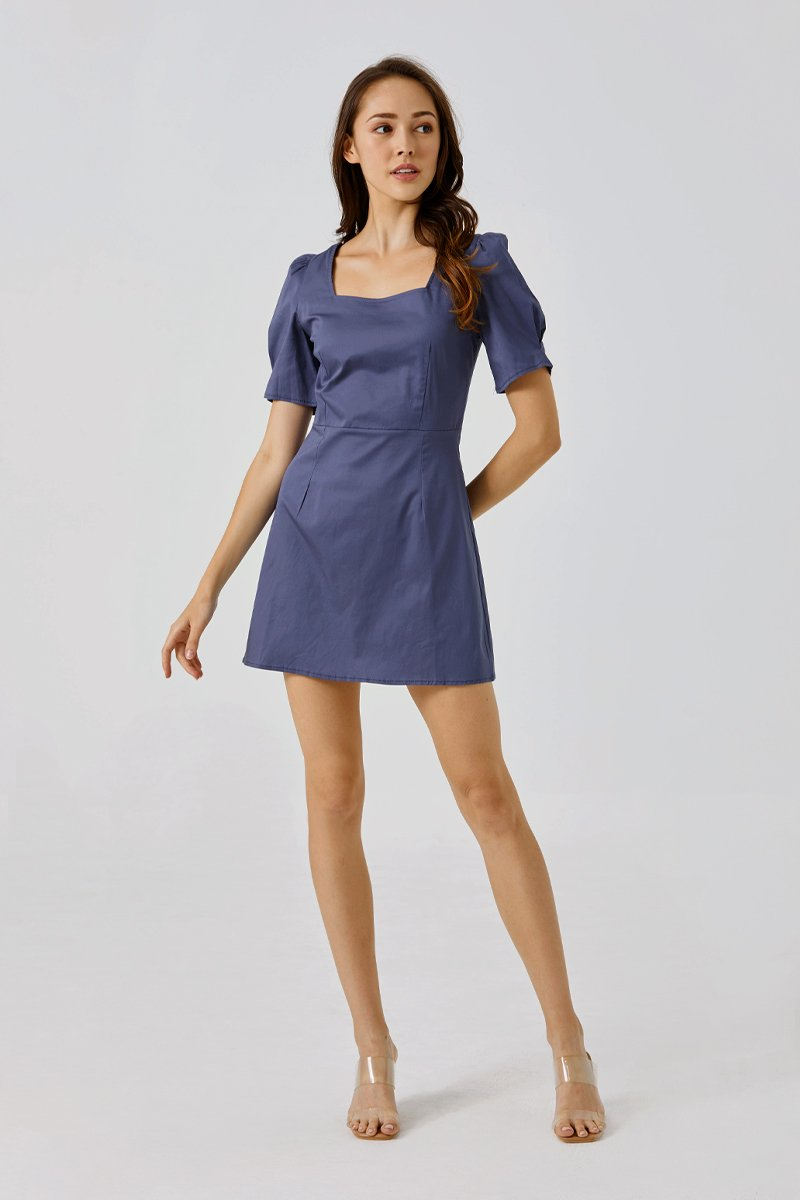 Desiree Puffed Sleeve Dress Dark Blue