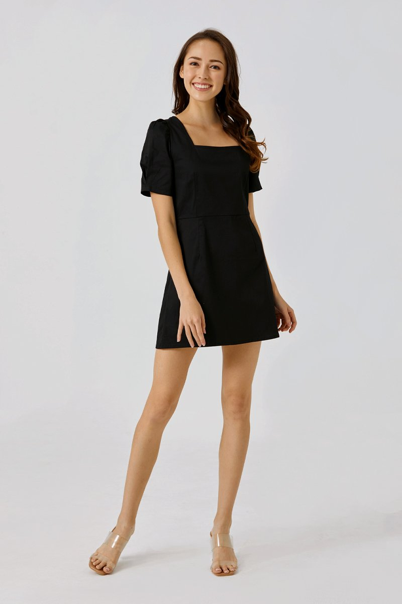 Desiree Puffed Sleeve Dress Black
