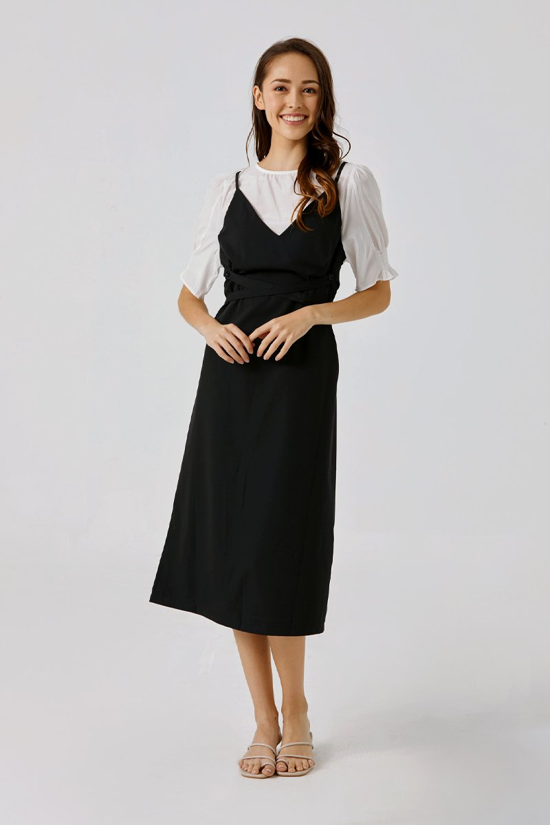Anikka Pinafore Dress Black