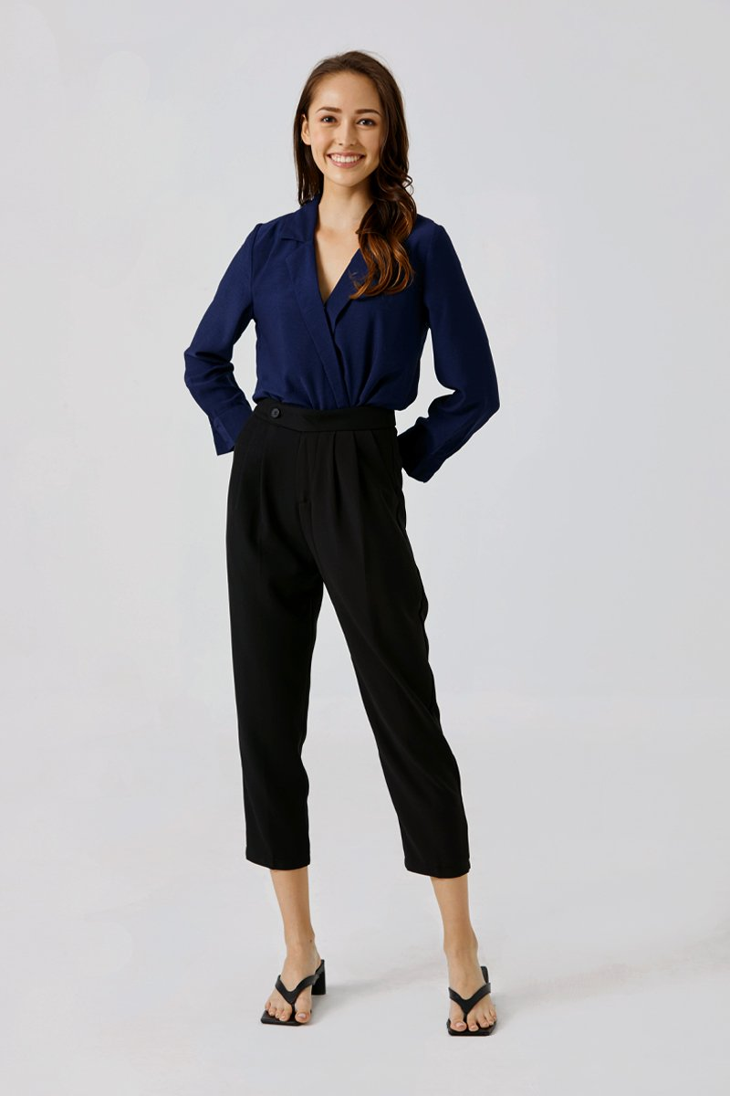 Richelle Tapered Straight-leg Pants Black