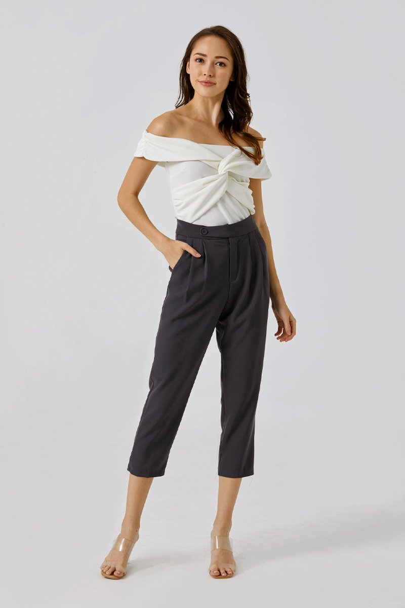 Richelle Tapered Straight-leg Pants Grey