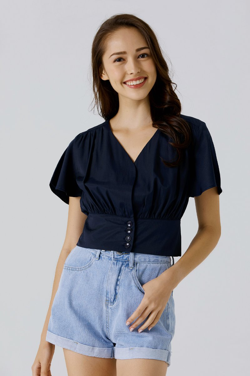 Lilith Flowy Sleeve Crop Top Midnight