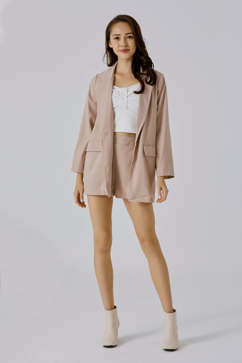 Eudora Blazer Shorts Set Nude