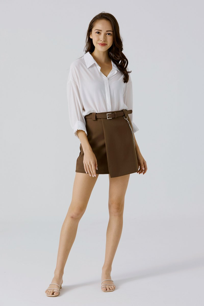 Delia A Line Belted Skirt Cocoa