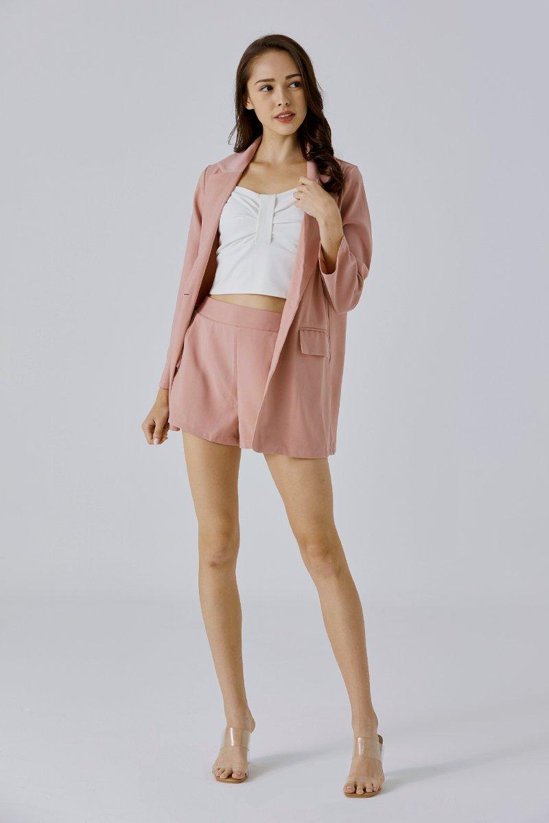 Eudora Blazer Shorts Set Blush