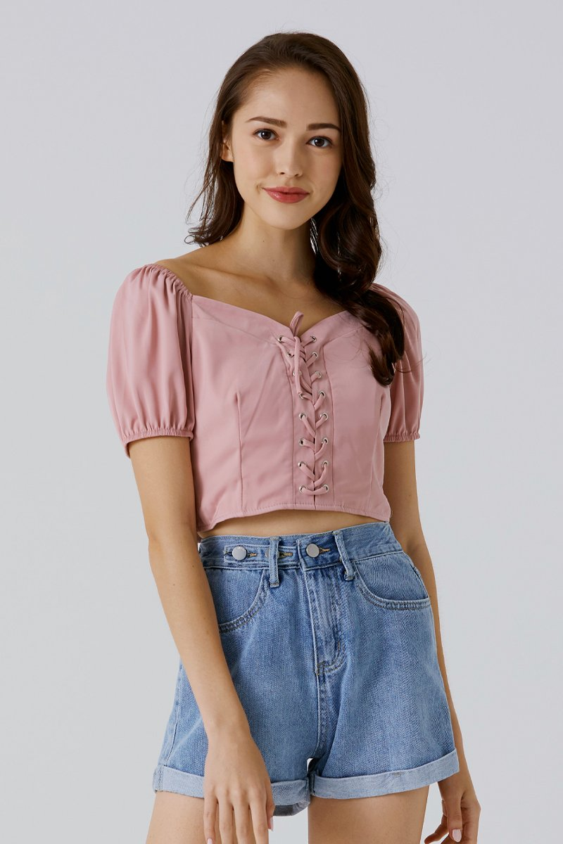 Veretie Laced Puff Sleeve Top Blush