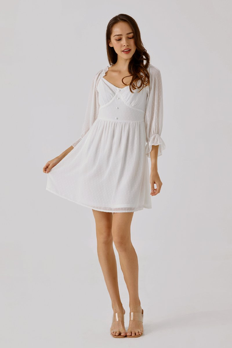 Kayana Swiss Dot Dress Ivory