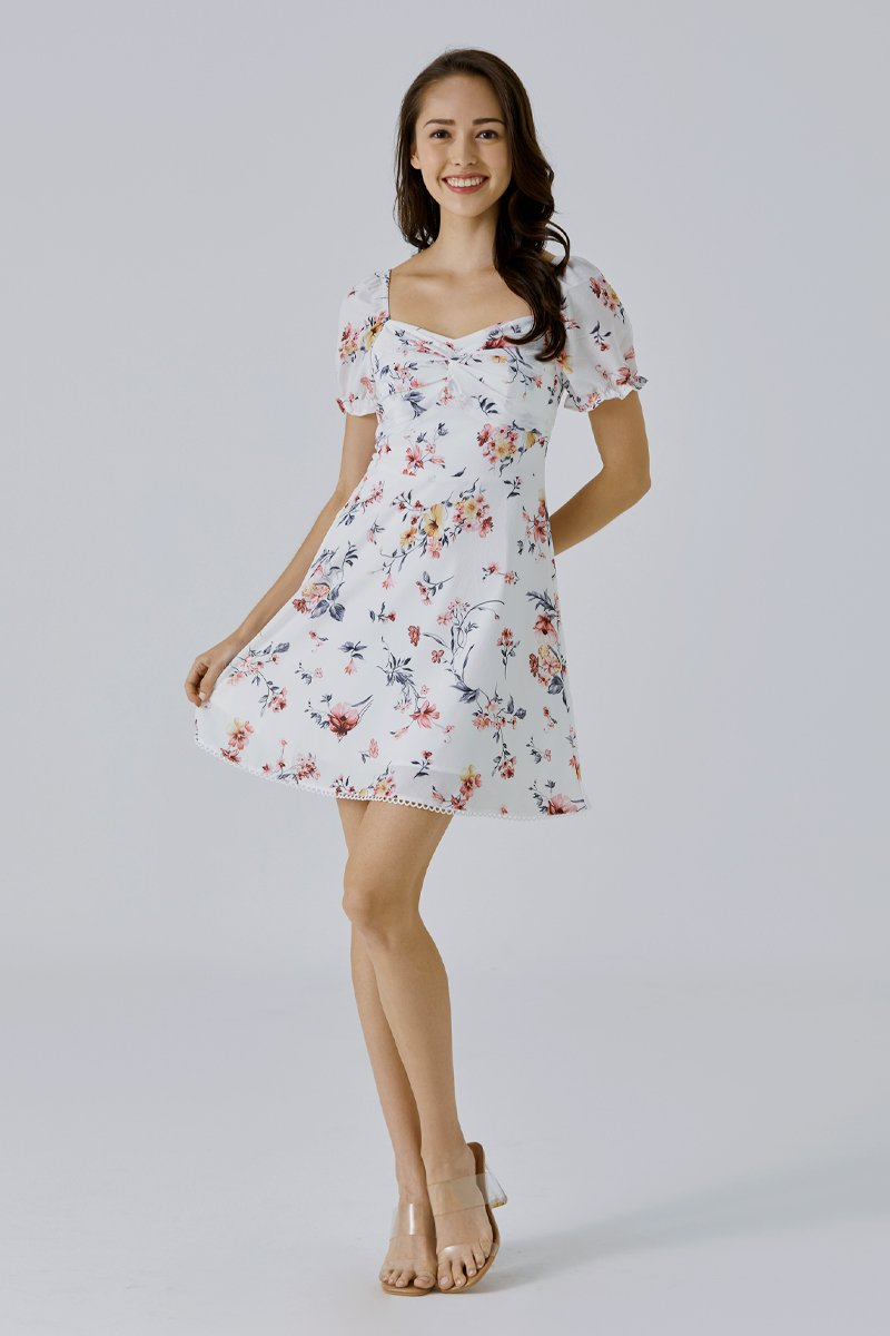 Karrie Floral Puff Sleeve Dress Ivory