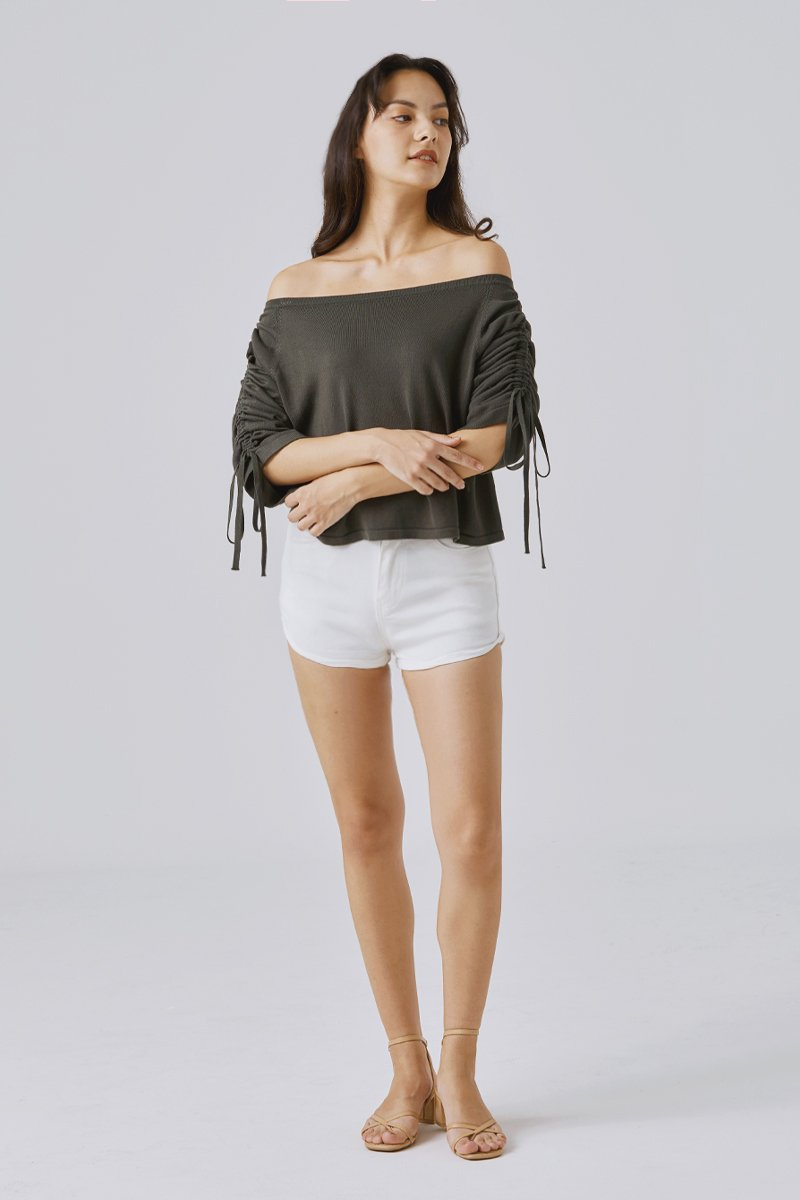 Benedette Denim Shorts Ivory