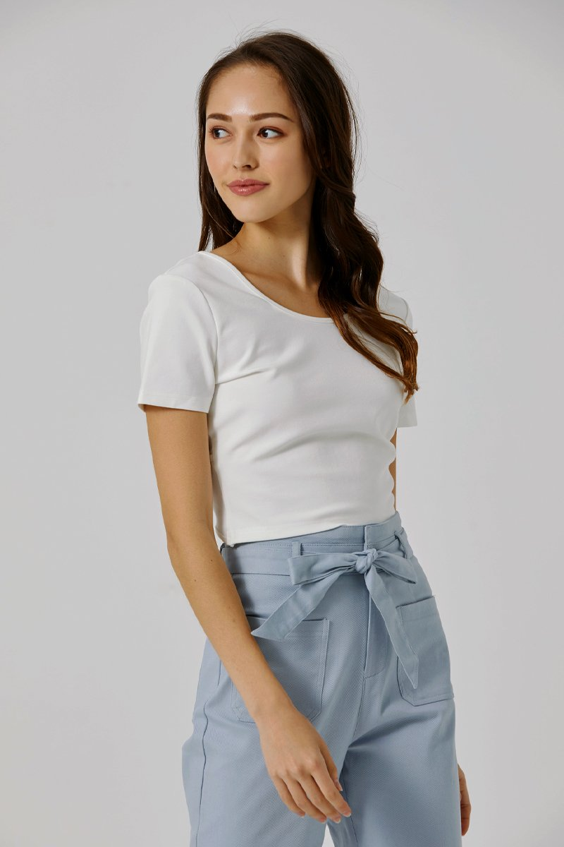 Rayna Cross Back Crop Top Ivory