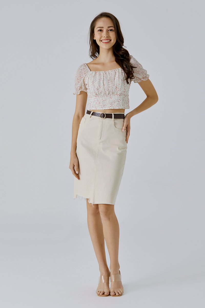 Elza Midi Denim Skirt Cream