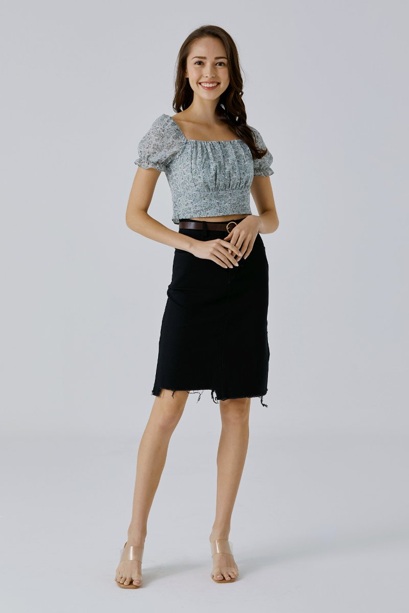 Elza Midi Denim Skirt Black