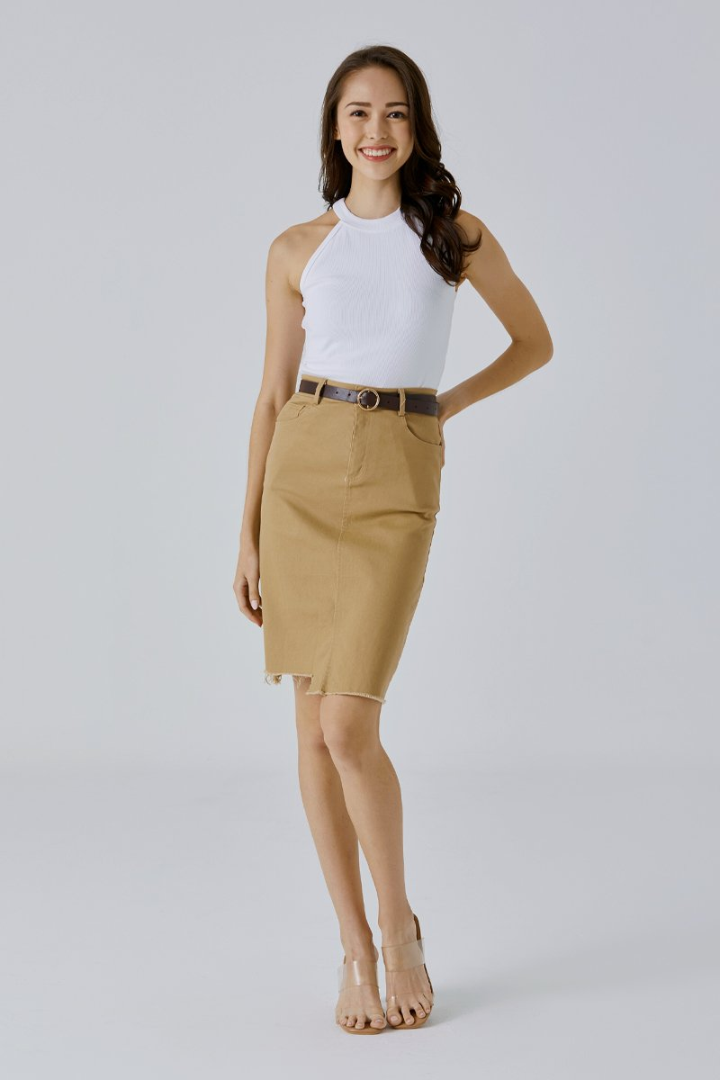 Elza Midi Denim Skirt Khaki